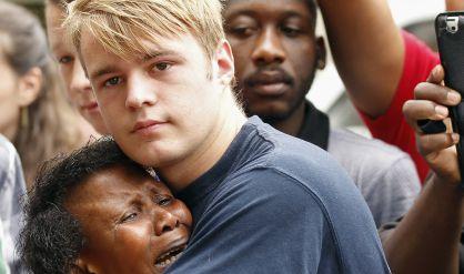 Frente a la casa de Mandela